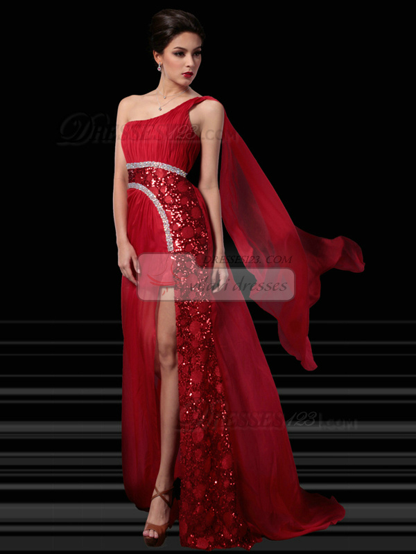 Gorgeous Sheath/Column One shoulder Sweep Split Front Prom/Evening Dresses