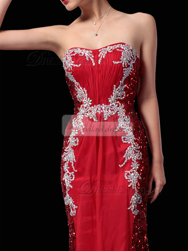 Luxurious Sheath/Column Sweetheart Court Train Sequin Prom/Evening Dresses