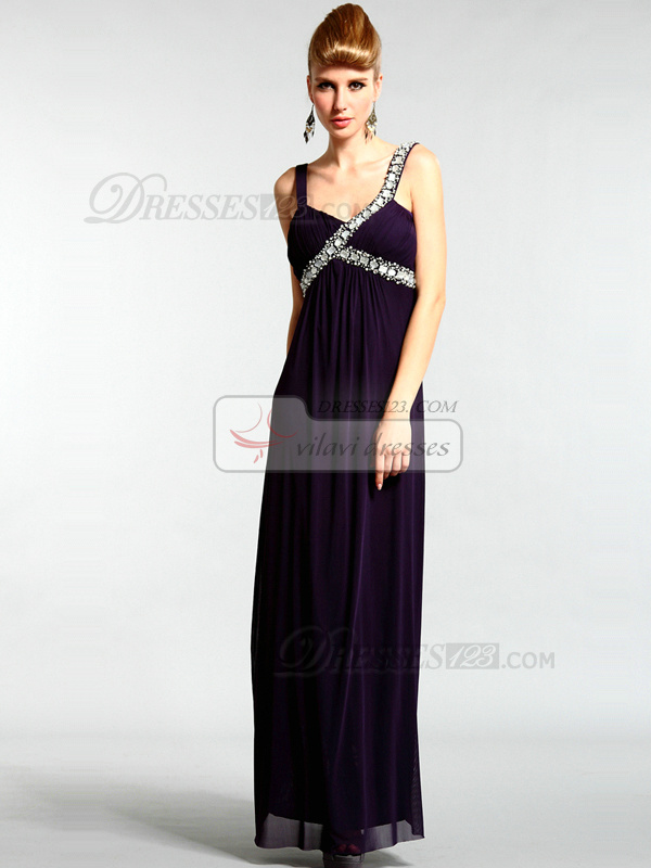 Lovely A-line Chiffon Straps Floor-length Crystal Evening Dresses