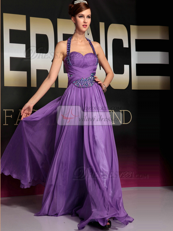 Glamorous A-line Chiffon Halter Crystal Evening/Prom Dresses