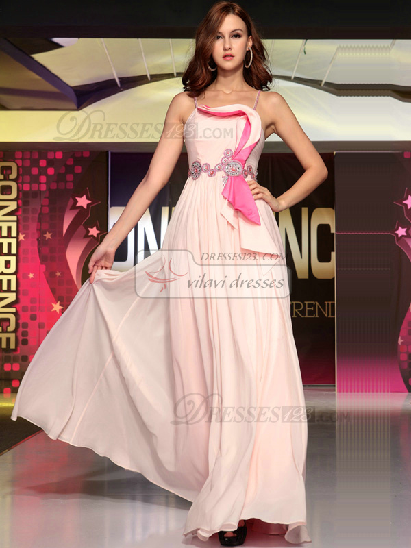 Lovely A-line Chiffon Spaghetti Straps Sequin Evening/Prom Dresses