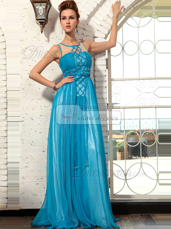 Amazing A-line Chiffon Round Brought Floor-length Evening/Prom Dresses