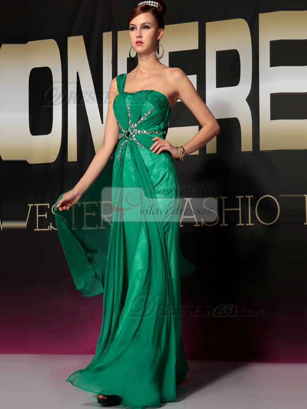 Fabulous A-line Chiffon One shoulder Floor-length Evening/Prom Dresses