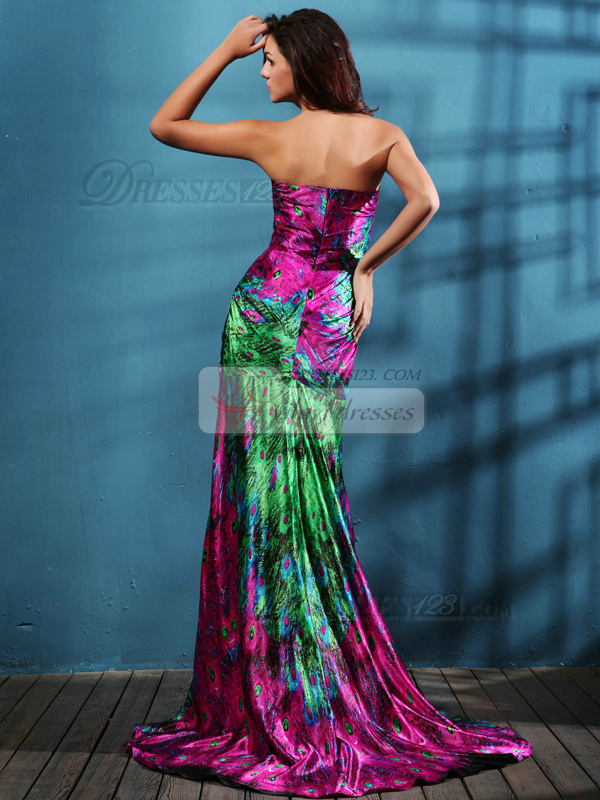 Noble Over Hip Satin Sweep Print Prom Dresses