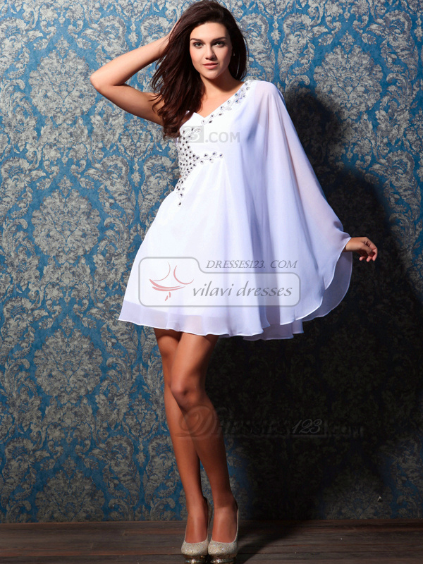 Bravo A-line One shoulder Short/Mini Beading Homecoming Dresses