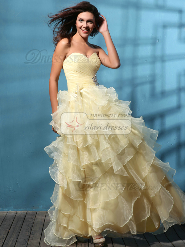 Intelligent Princess Organza Sweetheart Tiered Prom/Quinceanera Dresses