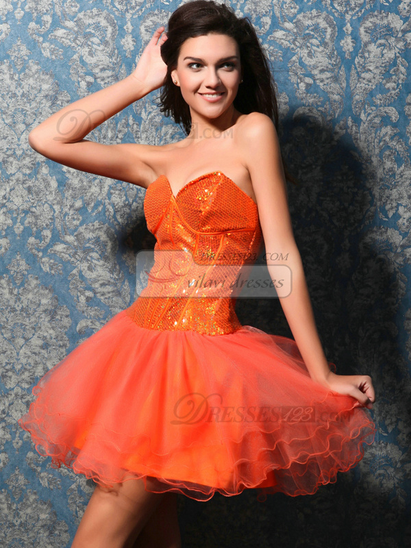 Fantasy A-line Sweetheart Short/Mini Sequin Sweet 16 Dresses