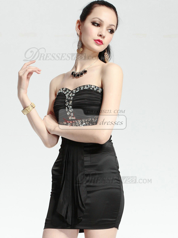 Great Sheath Elastic Woven Satin Short Sweetheart Crystal Prom/Cocktail Dresses