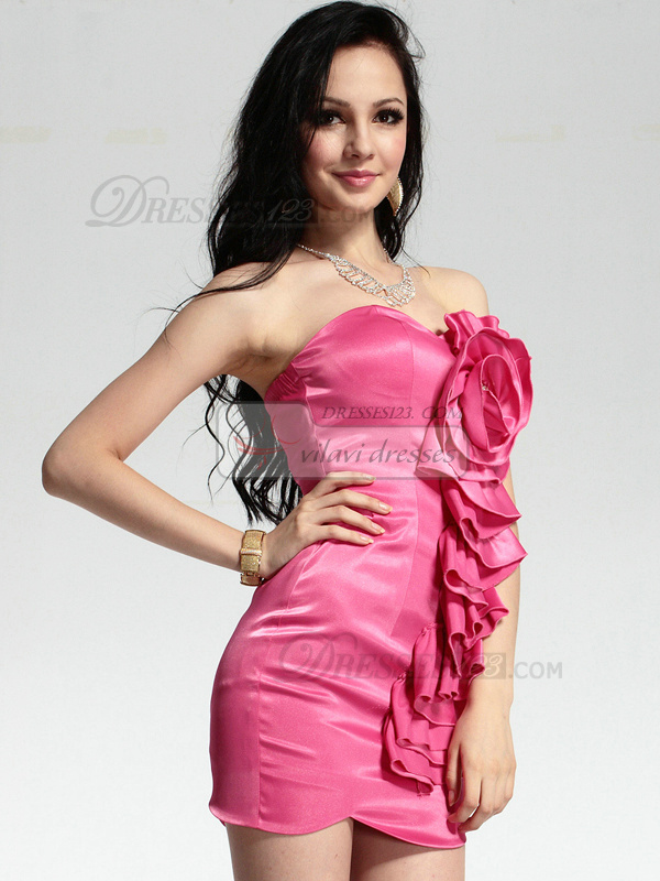 Glamorous Sheath Elastic Silk-like Satin Short Sweetheart Strapless Flower Prom/Cocktail Dresses