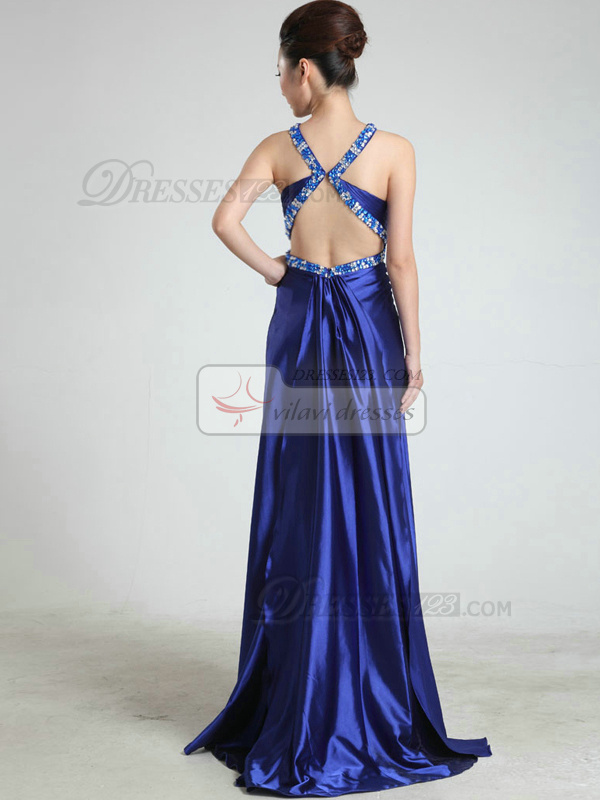 Appealing Sheath/Column Straps Sweep Crystal Evening/Prom Dresses