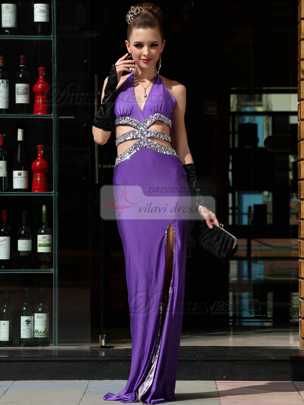 Precious Sheath Elastic Woven Satin One shoulder Floor-length Split Front Evening/Prom Dresses