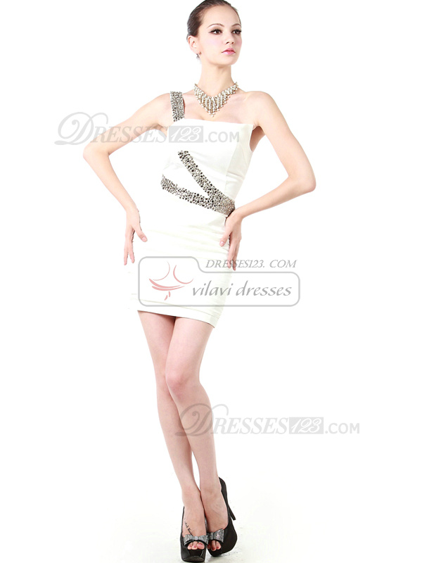 Glamorous Sheath/Column One shoulder Short/Mini Beading Cocktail Dresses