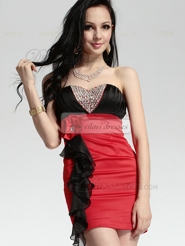 Precious Sheath Stretch Satin Short Sweetheart Strapless Flower Crystal Prom/Cocktail Dresses