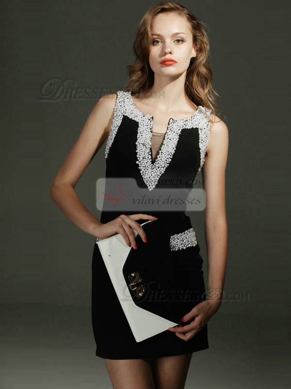 Luxurious Sheath Stretch Satin Short V-neck Beading Prom/Cocktail Dresses