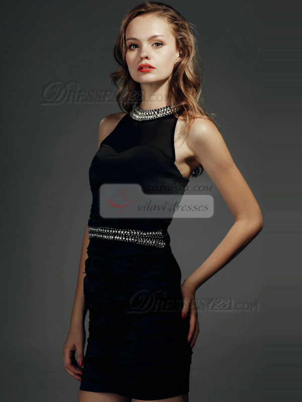Gorgeous Sheath Stretch Satin Short Round Brought Crystal Homecoming/Cocktail Dresses