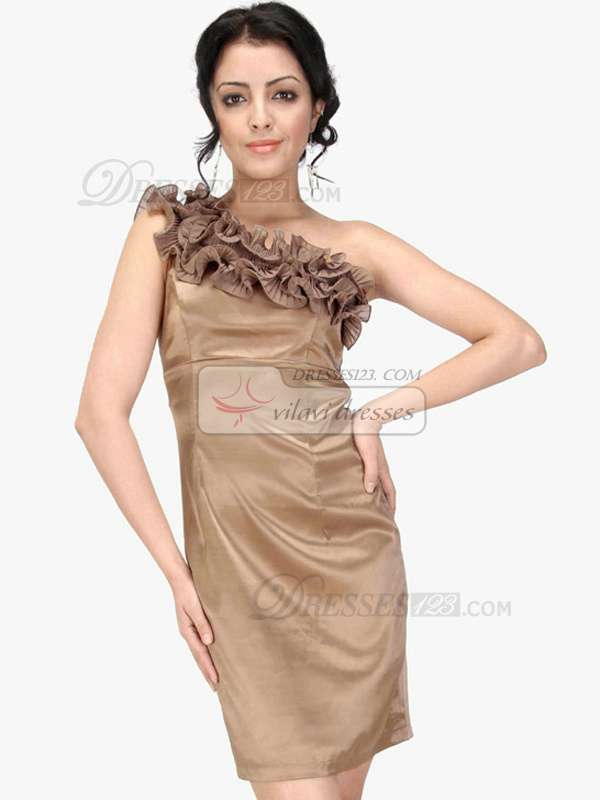 Precious Sheath/Column Stretch Satin One shoulder Short/Mini Cocktail/Prom Dresses