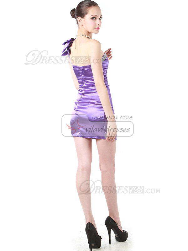 Glorious Sheath/Column Stretch Satin One shoulder Bowknot Cocktail/Sweet 16 Dresses
