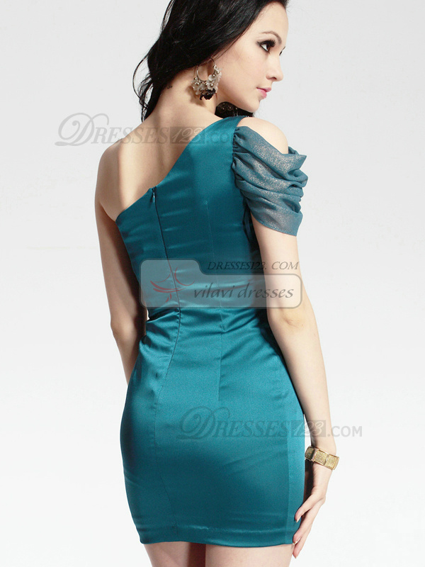 Perfect Sheath/Column Stretch Satin One shoulder Short/Mini Cocktail/Sweet 16 Dresses