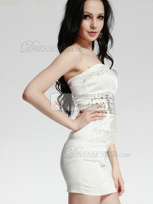 Spectacular Sheath/Column Stretch Satin Short/Mini Beading Cocktail/Prom Dresses