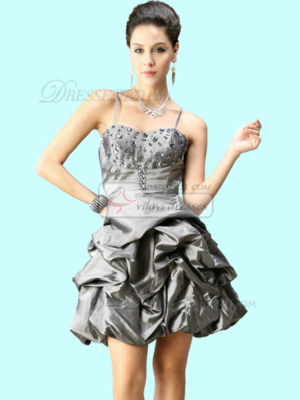 Snazzy Ball Gown Taffeta Spaghetti Straps Pick-Ups Cocktail/Prom Dresses