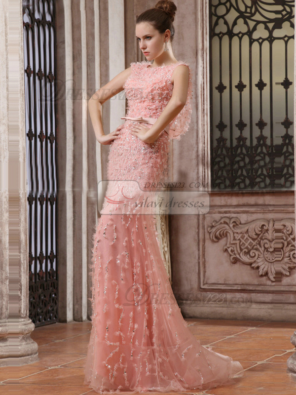 Graceful Mermaid/Trumpet Round Brought Sweep Beading Prom Dresses