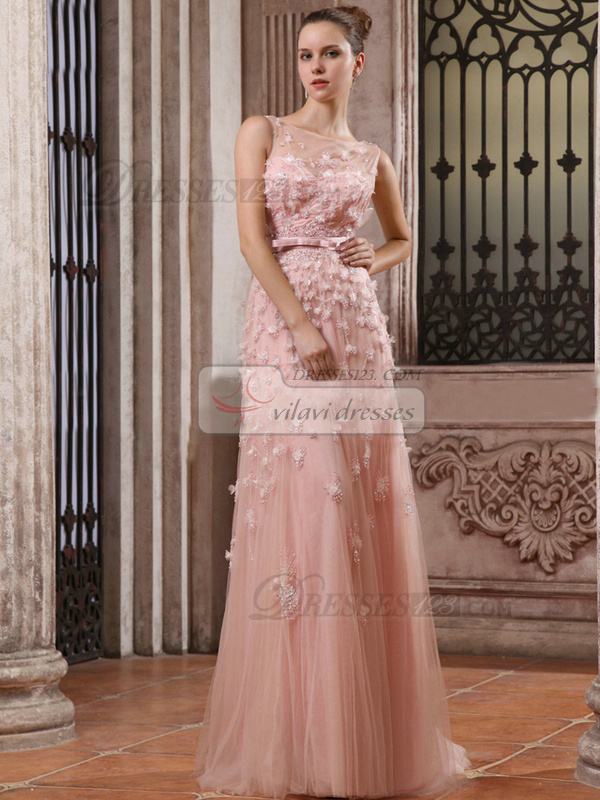 Perfect Sheath/Column Tulle Sweep Flower Evening/Prom Dresses