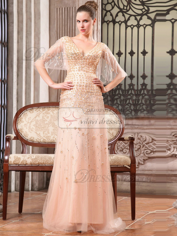 Gorgeous A-line Tulle V-neck Flower Evening/Prom Dresses