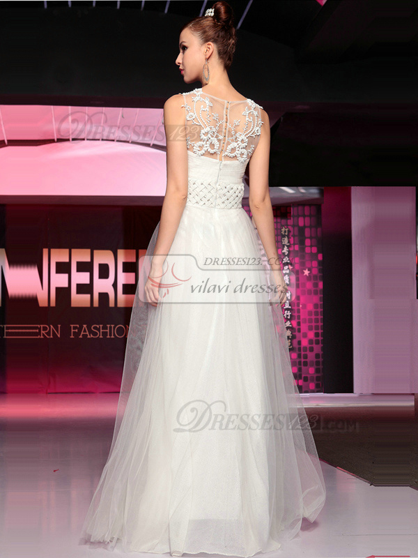 Happiness A-line Tulle Floor-length Appliques Evening/Prom Dresses