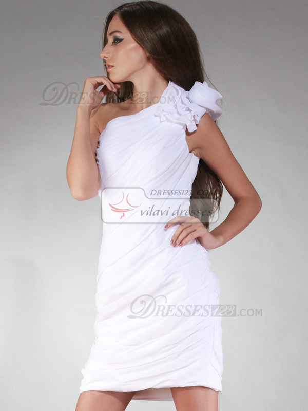 Classic Sheath/Column Chiffon One shoulder Short/Mini Graduation/Homecoming Dresses