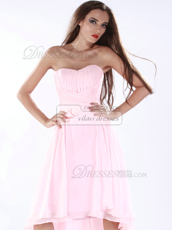 Amazing A-line Chiffon Asymmetrical Train Criss-cross Prom Dresses