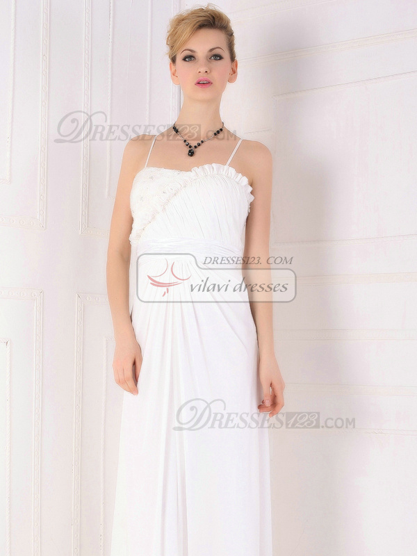 Noble Sheath/Column Spaghetti Straps Floor-length Chiffon Evening Dresses
