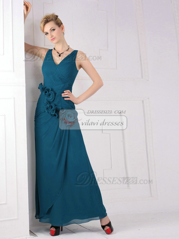 Glamorous A-line V-neck Straps Ankle-length Flower Chiffon Evening Dresses