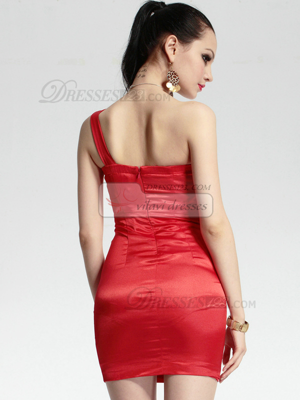 Perfect Sheath Elastic Silk-like Satin Short One shoulder Crystal Prom/Cocktail Dresses