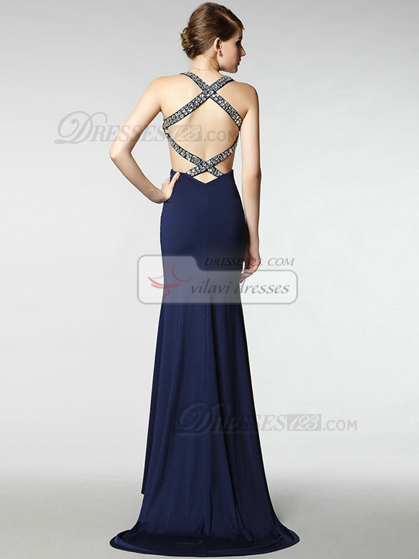 Magnificent Sheath Elastic Silk-like Satin Sweep/Brush Train V-neck Crystal Evening/Prom Dresses