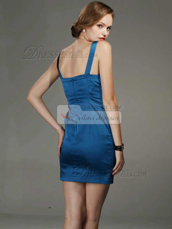 Tactile Sensation Sheath Stretch Satin Short Straps Crystal Prom/Cocktail Dresses