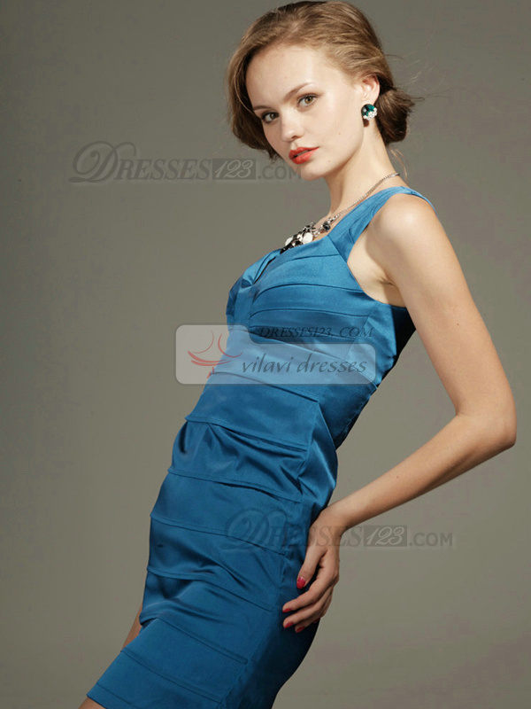 Appealing Sheath Stretch Satin Short Straps Tiered Homecoming/Cocktail Dresses