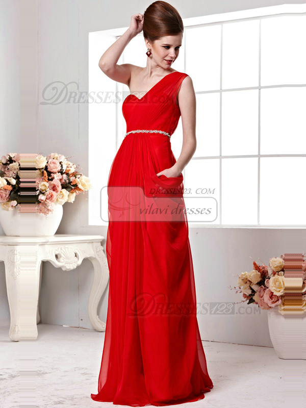 Appealing A-line One shoulder Floor-length Beading Evening Dresses
