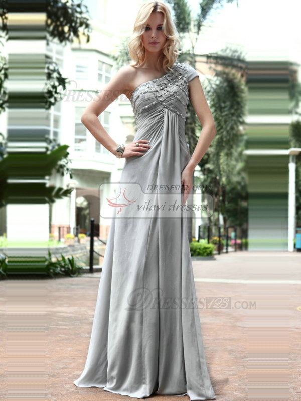 Appealing A-line One shoulder Floor-length Beading Sequin Evening/Prom Dresses