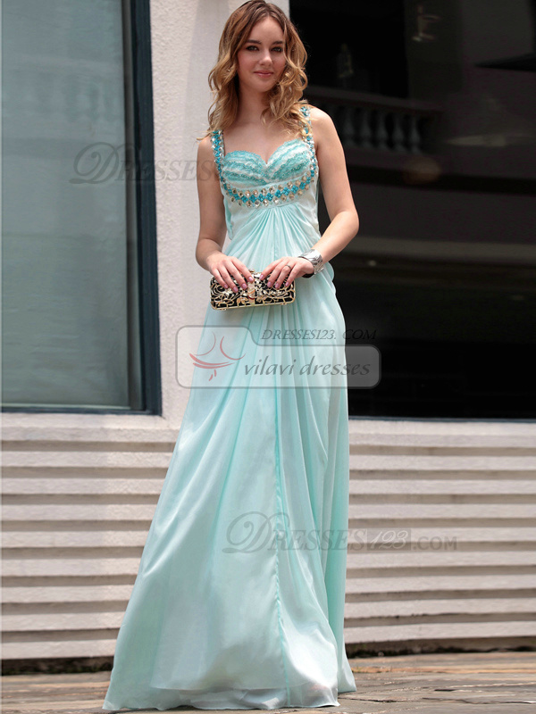 Appealing A-line Straps Floor-length Crystal Prom/Evening Dresses
