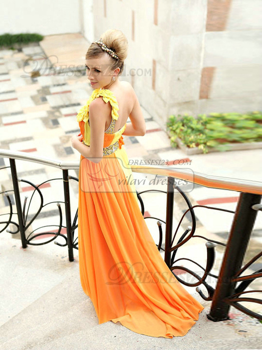 Appealing Sheath/Column One shoulder Court Train Flower Prom/Evening Dresses