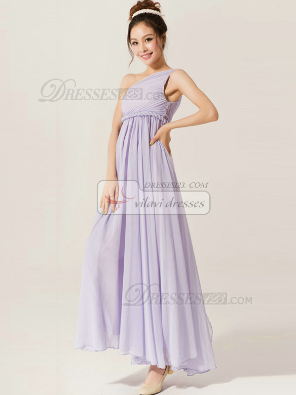 Beautiful A-Line One shoulder Draped Bridesmaid Dresses