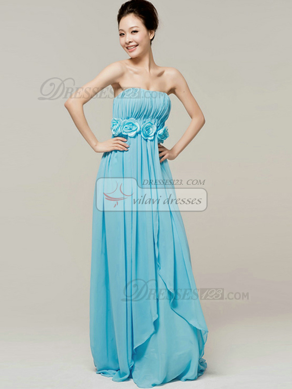 Beautiful A-Line Tube Top Strapless Flower Bridesmaid Dresses