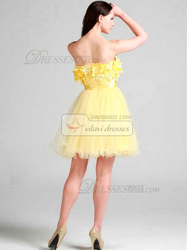 Beautiful A-line Tulle Short/Mini Flower Cocktail/Homecoming Dresses