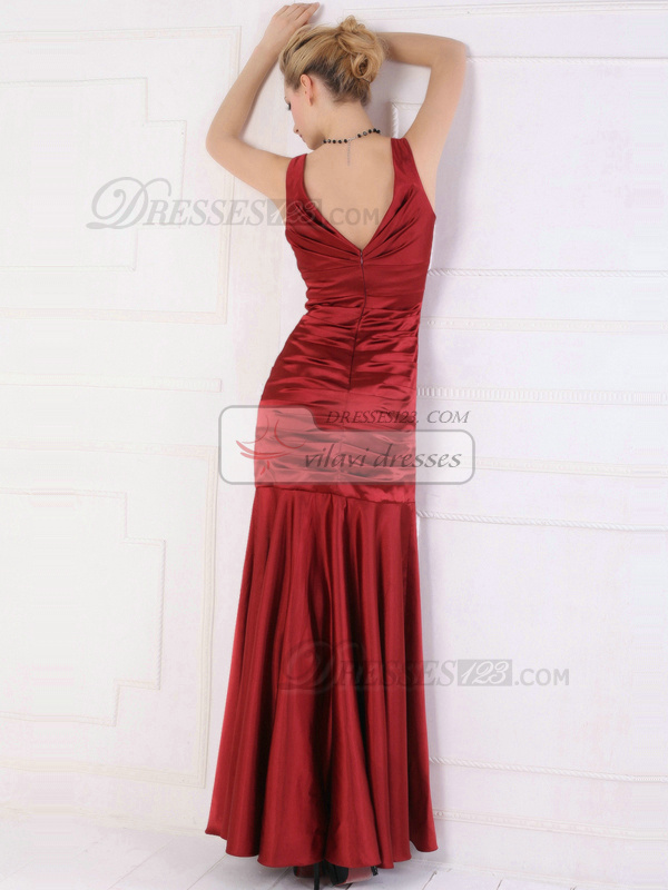 Beautiful Mermaid/Trumpet V-neck Ankle-length Flower Evening/Prom Dresses