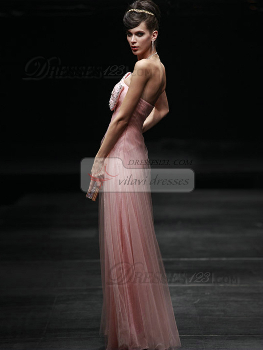 Beautiful Sheath/Column Tulle Asymmetrical Collar Bowknot Evening/Prom Dresses