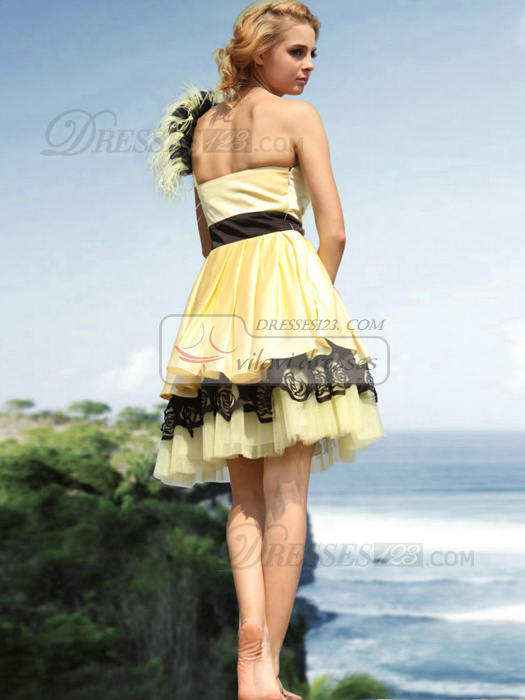 Bravo A-line One shoulder Short/Mini Feathers Cocktail/Homecoming Dresses