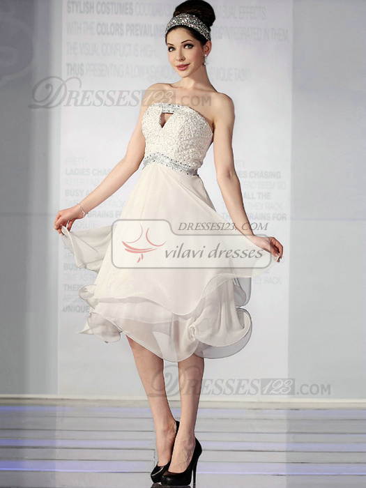 Elegant A-line Chiffon Tube Top Knee-length Sweet 16/Graduation Dresses