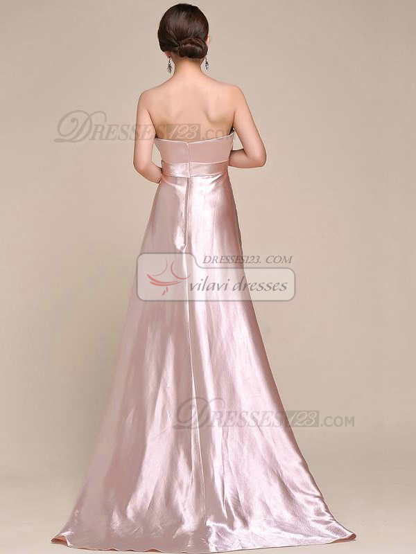 Elegant A-line Elastic Silk-like Satin Sweetheart Crystal/Rhinestone Sequin Prom Dress