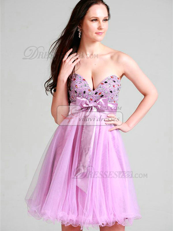 Elegant A-line Sweetheart Short/Mini Rhinestone Cocktail/Sweet 16 Dresses