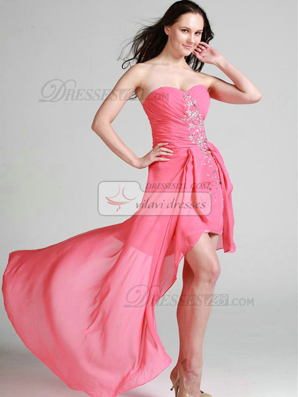 Elegant Sheath/Column Chiffon Sweetheart Asymmetrical Train Cocktail/Prom Dresses